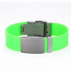 Adjustable ID Bracelet  With Pin – –  Green Silicone -120 To 240 Mm