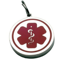 Charm for bracelet  or chain with medical round plate ID in silver and red 13*13 mm