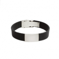 Wrist ID elite bracelet – black silicone band, stainless steel plate – 29*19mm