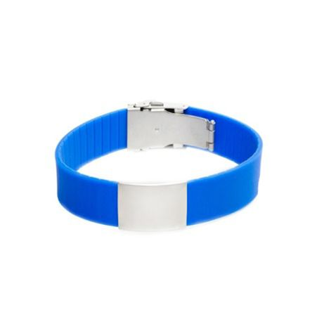 Wrist ID Elite Bracelet – Blue Silicone Band, Stainless Steel Plate – 29*19mm