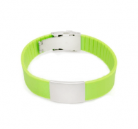 Wrist ID elite bracelet – green silicone band, stainless steel plate – 29*19mm