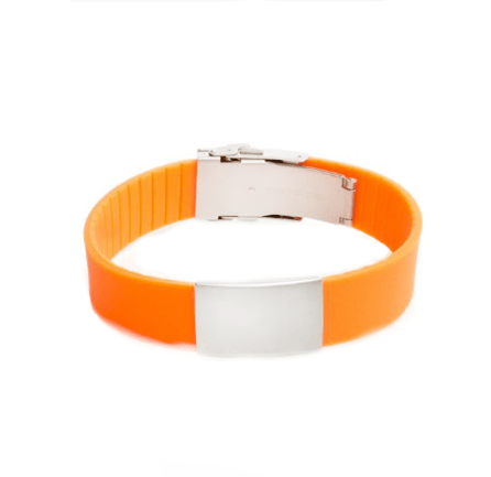 Wrist ID Elite Bracelet – Orange Silicone Band, Stainless Steel Plate – 29*19mm
