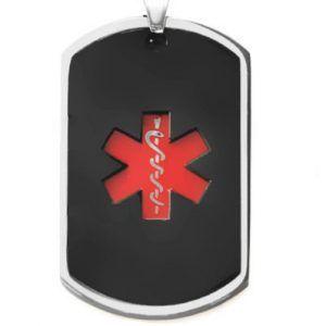 Pendant Medal Dog Tag ID Steel Black- Red Medical Symbol