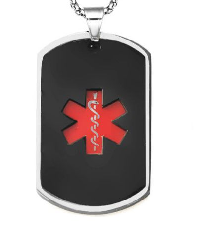 Pendant Medal Dog Tag ID Steel Black- Red Medical Symbol