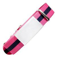 Emergency ID with watch nylon strap with military type design – pink with black stripe 240*18mm