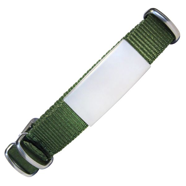 Emergency ID With Watch Nylon Strap With Military Type Design – Olive Color 240*14mm