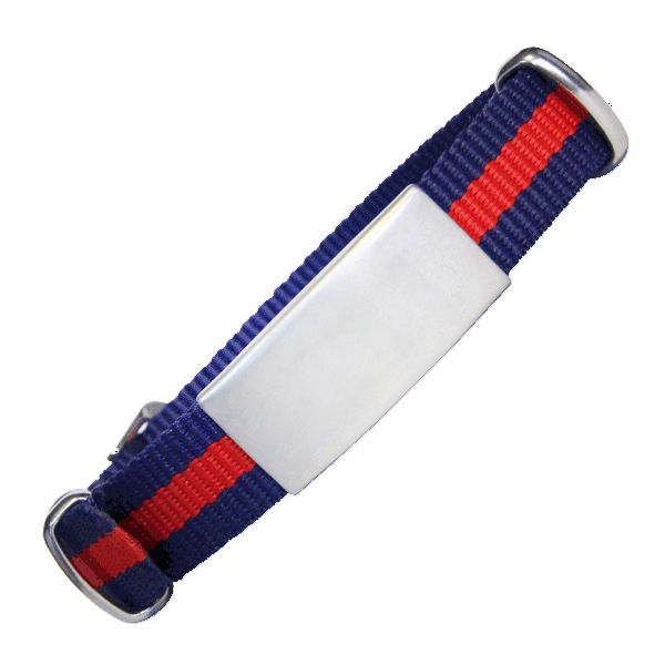 Emergency ID With Watch Nylon Strap With Military Type Design – Blue With Red Stripe 240*14mm