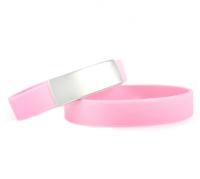 Slim elite wrist ID – pink band, stainless steel plate – 29*13mm