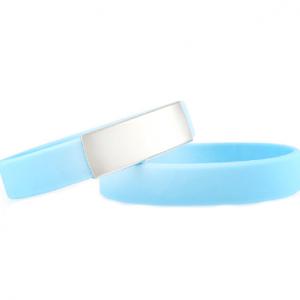 Slim Elite Wrist ID – Light Blue Band, Stainless Steel Plate – 29*13mm