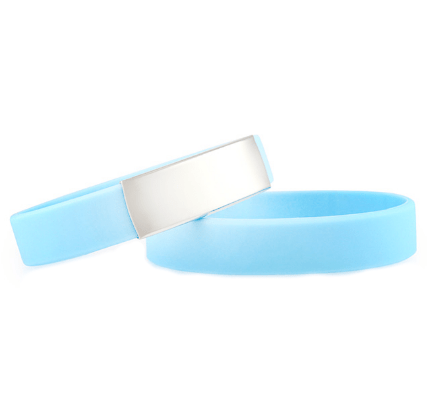 Slim Elite Wrist ID – Light Blue Band, Stainless Steel Plate – 29*13mm
