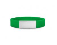 Slim elite wrist ID – green band, stainless steel plate – 29*13mm