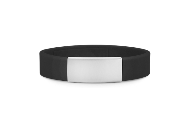 Slim Elite Wrist ID – Black Band, Stainless Steel Plate – 29*13mm