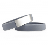 Slim elite wrist ID – grey band, stainless steel plate – 29*13mm