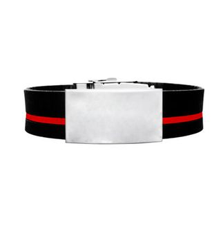 Adjustable Elite ID Bracelet – Black Silicone With Red Stripe 240*18mm