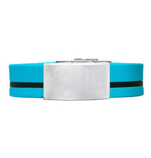 Adjustable Elite ID Bracelet – Light Blue Silicone With Black Stripe 240*18mm