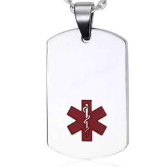 Dog Tag Id Necklace Stainless Steel Silver Color Red Medical Symbol 22*40 Mm