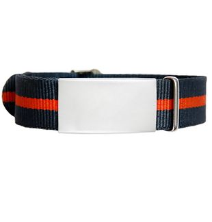 Emergency ID With Watch Nylon Strap With Military Type Design – Grey With Orange Stripe 240*14mm